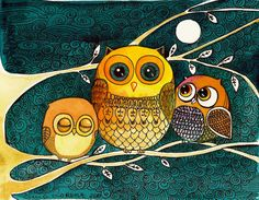 oh how I love owls... what a beautiful watercolor