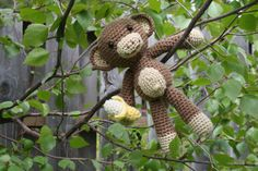 Amigurumi Monkey With Banana crocheted toy by MyLittlePals on Etsy
