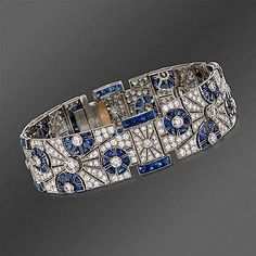 "Kwiat 12.60 ct. t.w. Sapphire and 8.00 ct. t.w. Diamond ""Vintage"" Bracelet in Platinum. 7"""