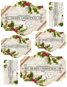 Merry Christmas printable Labels ~ featuring 1 label in 2 sizes, and a Merry Christmas tag Christmas 24, Christmas Paper, Christmas Images, All Things Christmas, Vintage Christmas, Christmas Crafts, Christmas Decorations, Xmas, Christmas Graphics