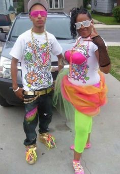 Rainbow Thugz In This Picture: A Photo of kids dressed in bright hip-hop clothes