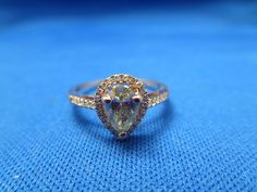 Rose Gold Pear Shaped Pale Green Diamond Ring