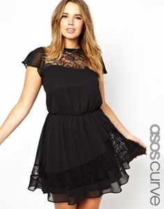 Image 1 ofASOS CURVE Exclusive Skater Dress With Lace Neck