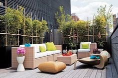 Exterior, Excellent Minimalist Outdoor Terrace Design With Wicker Sofas And Table Featuring Cushions For Relaxing Space: Amazing Summer Decoration Design Ideas for Outdoor Living Areas Outdoor Seating Areas, Outdoor Living Areas, Outdoor Rooms, Outdoor Decor, Outdoor Sofa, Contemporary Garden Rooms, Terrasse Design, Patio Pergola, Backyard
