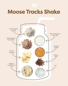 Why decide between vanilla and chocolate when you can have the best of both worlds with this Moose Tracks Shake?! This dairy-free and indulgent drink even has swirls of peanut butter for extra nuttiness and a satisfying crunch from chocolate-y cacao nibs. Protein Powder Recipes, Protein Shake Recipes, Smoothie Recipes, Drink Recipes, Protein Shakes, Healthy Smoothies, Healthy Fats, Healthy Recipes, 310 Shake Recipes