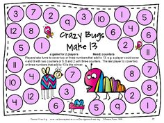Addition game for 2 players, find 2 or 3 numbers that add to 13. From Addition Board Games by games 4 Learning - 27 printable addition board games. $