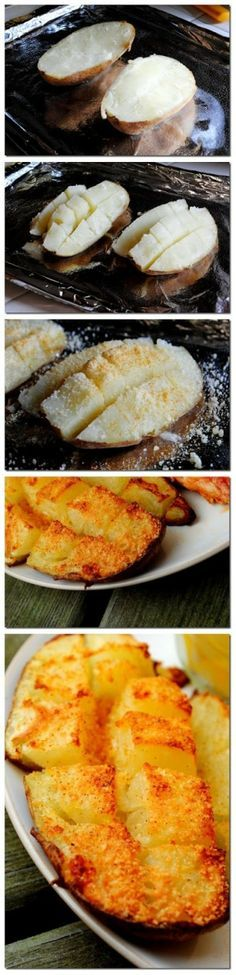 Gebakken aardappelen met geraspte kaas. Alles wat je doet is koken de aardappels totdat ze gaar zijn Snijd de aardappel in de helft, dan snijd elke helft in vierkantjes. Niet helemaal doorsnijden, maar tot op de huid. Breng op smaak met boter, Parmezaanse kaas en kruiden zout dan in de oven.