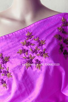 Saree Embroidery Design, Embroidery Flowers Pattern, Hand Embroidery Stitches, Hand Embroidery Designs, Flower Patterns, Silk Saree Blouse Designs, Silk Sarees, Anarkali, Cochin