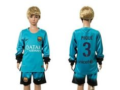 Barcelona #3 Pique SEC Away Long Sleeves Kid Soccer Club Jersey