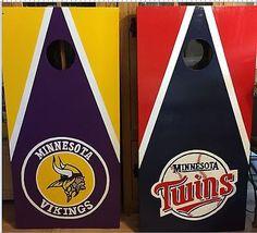 Vikings  and Twins Cornhole boards Custom Made and Free Bags