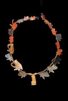 Necklace. Gold; carnelian; lapis; quartz; agate; hematite. Egypt.