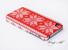 Snowflake cross stitch picture iPhone 4 case /  Snowflake iPhone 4s case/ Christmas iPhone case / Decoupage iphone case