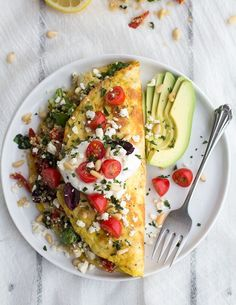 Simple Greek Quinoa Dinner Omelets with Feta and Tzatziki