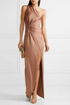 Cushnie et Ochs - Denise One-shoulder Stretch-satin Gown - Antique rose Taupe Bridesmaid Dresses, Blush Dresses, Satin Dresses, Stylish Dresses, Nice Dresses, Elegant Dresses, One Shoulder Dress Long, Anniversary Dress, Halter Gown