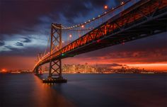 fiery sunset over San Francisco