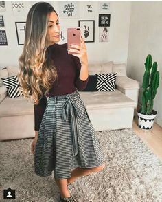 Ooo i like the outfit and the cactus moda evangélica inverno, roupas para sair, Modest Wear, Modest Outfits, Fall Outfits, Casual Outfits, Work Outfits, Jw Fashion, Modest Fashion, Autumn Fashion, Fashion Outfits