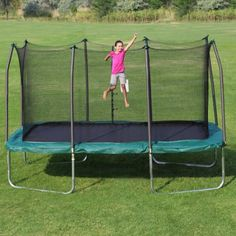 Free Shipping. Buy Skywalker Trampolines 14' x 8' Rectangle Trampoline and Enclosure - Green at Walmart.com