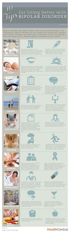 10 Tips for Living Better with Bipolar Disorder (INFOGRAPHIC) Source: http://www.healthcentral.com/bipolar/c/458275/167102/living-disorder-infographic/?ic=recc