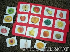 Matching fruit: half to whole (free printable)
