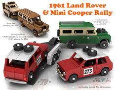 Buy and build the 1961 Land Rover and Mini Cooper Rally full-size wood toy plan set!
