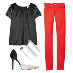Combina tus pantalones rojos con prendas neutras como el negro y complementa con accesorios en plateado. #TheLook #Fashion