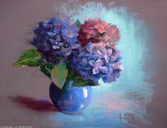 Oeuvre >> Breton Michel >> Pot bleu d'Hortensias Chalk Pastel Art, Soft Pastel Art, Chalk Pastels, Chalk Art, Soft Pastels, Acrylic Flowers, Pastel Flowers, Abstract Flowers, Watercolor Flowers