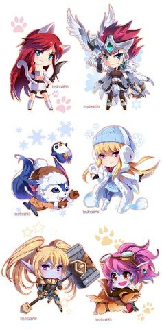 Chibi League of Legends: Top: Katrina, Idk Mid: Idk, I forgot Bot: Poppy, Tristana?