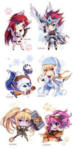 Chibi League of Legends: Top: Katrina, Idk Mid: Idk, I forgot Bot: Poppy, Tristana?