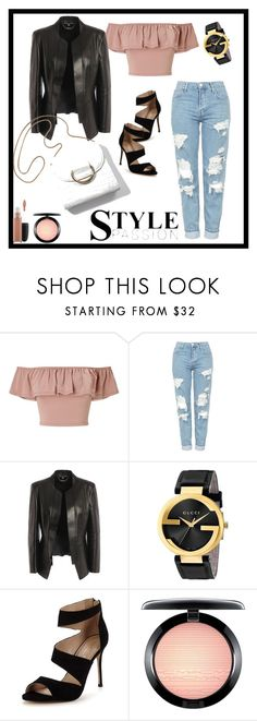 """""""Gucci"""" by cbgzajunk ❤ liked on Polyvore featuring Miss Selfridge, Topshop, Alexander McQueen, Gucci, Carvela and MAC Cosmetics"""