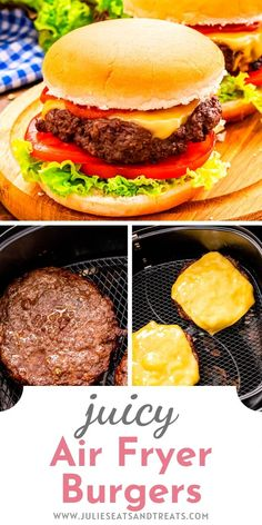 Make juicy Cheeseburgers in your Air Fryer! These burgers are hand pattied with the perfect blend of seasonings then topped with a slice of cheese for an easy dinner in your air fryer! #airfryer #dinner Air Fry Recipes, Bar Recipes, Yummy Recipes, Quick Weeknight Dinners, Easy Meals, Homemade Potato Salads, Tender Pork Chops, Air Fryer Pork Chops, How To Cook Burgers