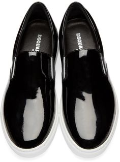 Dsquared2 - Black Patent Leather Slip-On Sneakers 455 EUR / $645. 6 December 2016 on sale at Ssense was $645, now 335 sizes IT: 39-42,44.