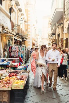 Amalfi Coast Wedding - newly weds strolling through the streets in Sorrento