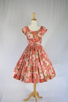Vintage 1950's Pink Floral Full Skirt Garden Party by madvintage ~ETS #1950svintagedress #pinkfloraldress #vogueteam