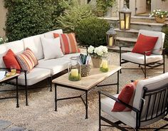 I love this outdoor space featured on Pottery Barn website.  The crushed gravel is so natural looking, and I love that it's inexpensive!