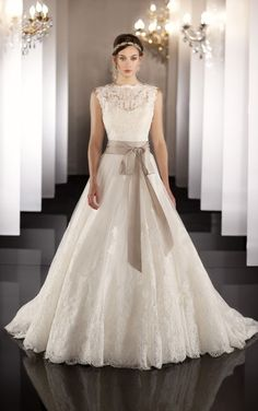 Wedding Dresses Ivory Organza Jewel Neckline Floor-length Hemline A Line Princess A (A P 0001215)