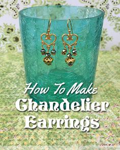 DIY Beaded Chandelier Earrings - this easy jewelry making tutorial shows how to attach beaded headpins to a heart-shaped chandelier finding with simple wrapped loops. A great jewelry craft basic explained in a written how to and a video you can follow along with. Pretty dangling earrings make a great gift!