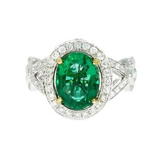 Oval Cut Natural Green Emerald Diamond Ring Solid 18K White Gold 4.59 Carat #MyDiamonds #SolitairewithAccents