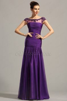eDressit Beaded Capped Sleeves Purple Formal Gown Evening Dress (02154606)…