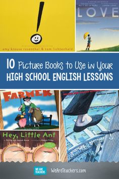 10 Picture Books to Use in Your High School English Lessons. Mixing it up each school year is a good thing. Check out this list of elementary picture books that will help engage your high schoolers during your class lessons. High School Anime, High School Art, Middle School, 10 Picture, Picture Books, English Classroom, Ela Classroom, Future Classroom, Classroom Organization
