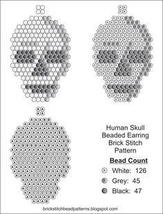 Human Skull Halloween Seed Bead Earring