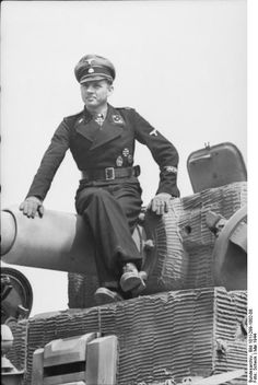 German Waffen-SS Obersturmführer Michael Wittmann on a Tiger I heavy tank, Northern France, May 1944.