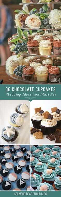 36 Chocolate Wedding Cupcake Ideas You Must See ❤ When it comes to the wedding you expected a slice of cake... Am I right? But you could surprise you guests with a delicious chocolate wedding cupcake! See more: http://www.weddingforward.com/chocolate-wedding-cupcake/ #weddings #cakes