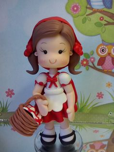 Claudia Pinho: Topo de bolo personalizado tema Chapeuzinho Vermelho em Biscuit Cake Decorating With Fondant, Fondant Decorations, Diy Party Decorations, Polymer Clay Ornaments, Polymer Clay Dolls, Polymer Clay Creations, Clay Projects, Clay Crafts, Hobbies And Crafts