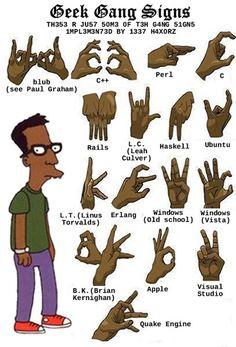 Manual de #Lenguaje de los #signos #Geek.    Geek Gang Sings