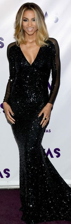 Who made Ciara's black sequin gown that she wore in Los Angeles on December 16, 2012?