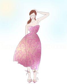 Sheer Beauty - Fashion Illustration by Tanya Leigh Washington
