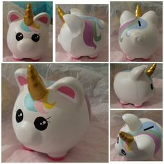 Crafts To Sell, Diy And Crafts, Pig Bank, Little Pony Party, Mini Pig, Cute Piggies, Bottles And Jars, Cool Toys, Painted Rocks
