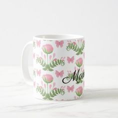 Pretty Pink Floral and Butterfly Personalized Coffee Mug - pink gifts style ideas cyo unique