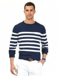 Navy and White Horizontal Striped Crew-neck Sweaters for Men ...