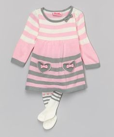Another great find on #zulily! Pink Stripe Sweater Dress & Cream Tights - Infant #zulilyfinds